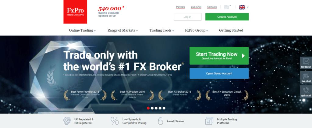 FxPro er den største forex broker i over 40 lande